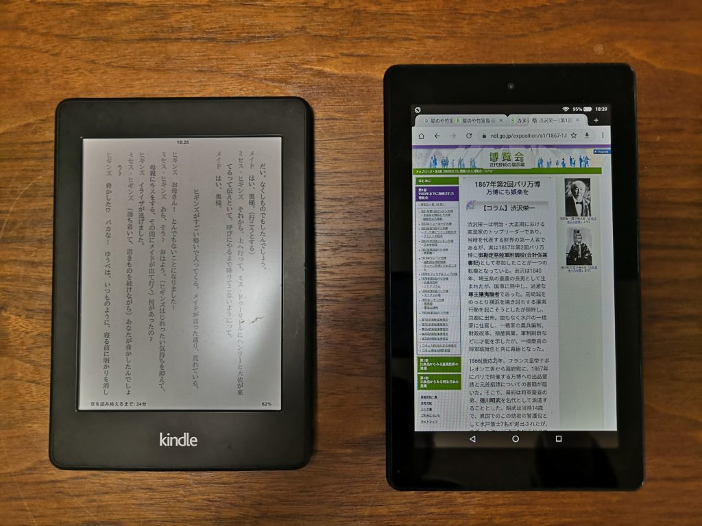 kindle paperwhite fire7 比較